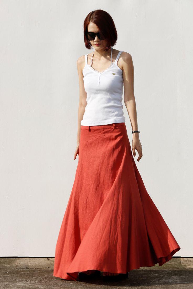 Romantic Boho Maxi Skirt Long Linen Skirt in Dark Orange - NC456 by Sophiaclothing on Etsy https://www.etsy.com/listing/269486750/romantic-boho-maxi-skirt-long-linen