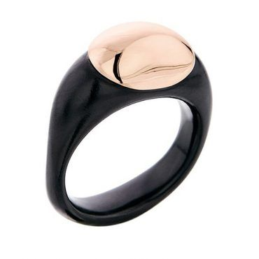 Δαχτυλίδι Huffy εντυπωσιακό, ασημένιο με μαύρο πλατίνωμα και ροζ χρυσό κυκλικό τμήμα | Δαχτυλίδια HUFFY ΤΣΑΛΔΑΡΗΣ στο Χαλάνδρι #δαχτυλιδι #huffy #ροζ #μαυρο
