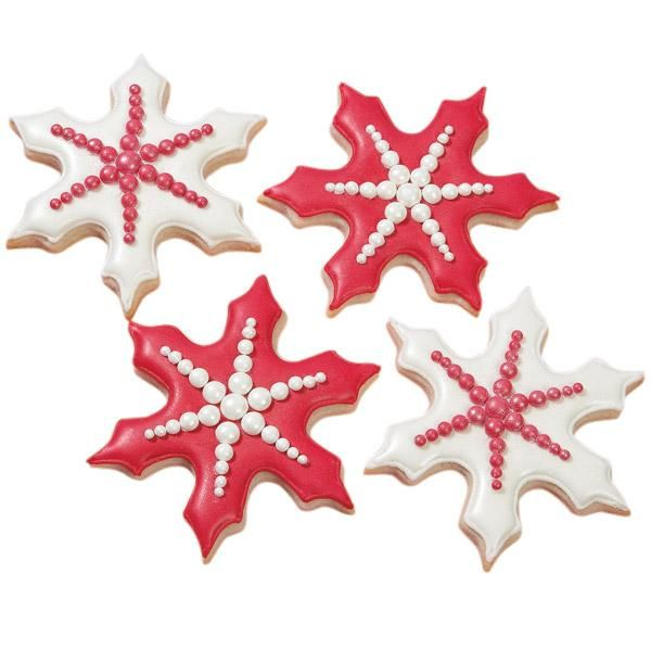 Stand-out Snowflake Cookies - Dazzle family and friends with snowflake cookies of an entirely different color.  Create these signs of the winter season with the 3-Pc. Snowflake Cookie Cutter set and Roll-Out Cookie Dough.  Decorate with white and Christmas Red Color Flow Icings.