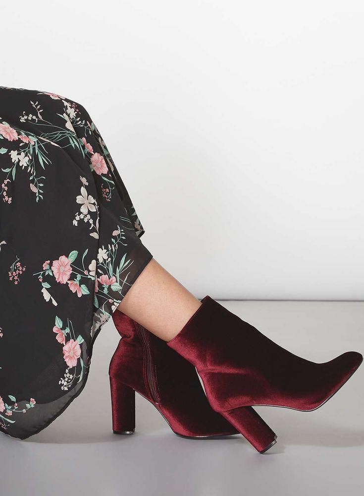 Burgundy 'Ariana' Velvet Boots- dorothy perkins