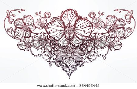 vintage floral highly detailed... medically accurate illustration of the skeletal ...
