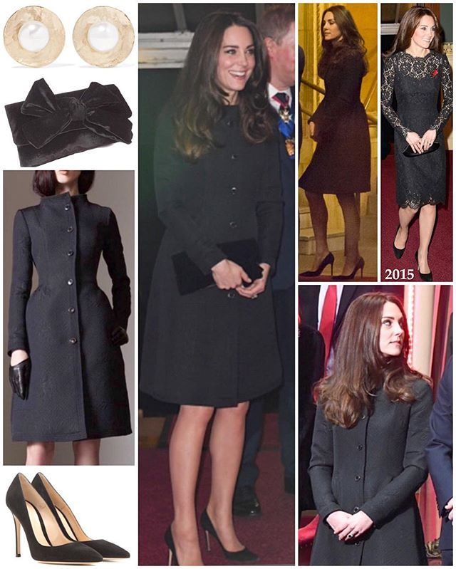 The Duchess of Cambridge was in a new black ensemble for last night's Festival of Remembrance. She wore a new coat by one of her favourite designers, Temperley London. The 'Callas Evening Coat' is from the label's pre-fall 2014 collection and has a fitted bodice with a flared skirt - a favoured silhouette of Kate's. It features a high neck, princess seams, side seam pockets and six buttons. The floral jacquard fabric is made from a wool/polyester/acetate b...