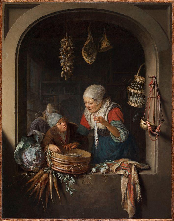 Gerard Dou: Een jongen en een oude vrouw met een haring in het venster van een winkel. ca. 1664. De Leiden collection. De blauwe vilten hoed van de jongen en zijn bruine jas gedragen over een rood wollen hemd, laten zien dat hij een vissersjongen is. Blijkbaar heeft de jongen de zooi vis gebracht zodat de oude vrouw de haringen kan verkopen. De vrouw is het prototype van een ruw viswijf. Mogelijk drukt het schilderij een spreekwoord uit: iemand een bokking geven. Dus iemand scherp…