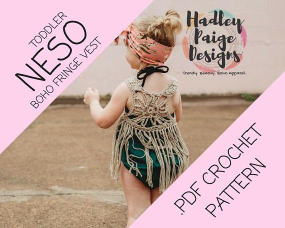 NESO TODDLER size Boho Fringe Vest Crochet PATTERN // by Hadley Paige Designs // Instant Pattern Download //  Summer wear // Toddler fashion