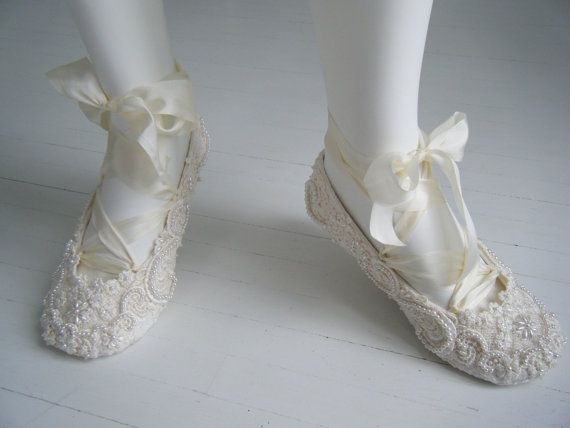 Ivory Ballet Flats Wedding Shoes Bridal By BobkaBaby 19900