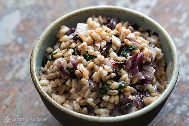 Farro cooked with onions and garlic and tossed with sautéed swiss chard and radicchio ~ SimplyRecipes.com