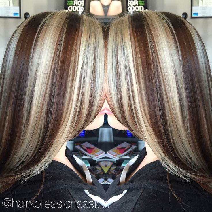 @hairxpressionssalonlv chunky highlights/golden brown base!