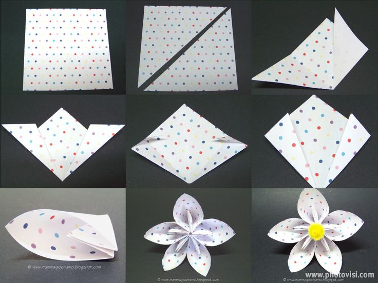 MammA GiochiaMo?: Lavoretti di Pasqua/Primavera: fiore di carta origami per la tavola.