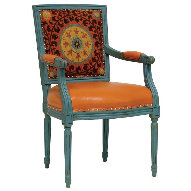 Lyon Square Back Arm Chair Orange Medallion: Decor, Armchair Delights, Squares, Chairs, Color, Orange Medallion, Lyon Square