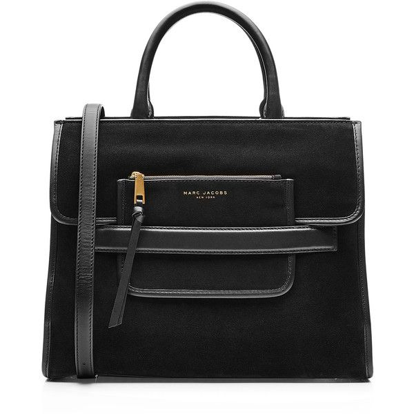 Marc Jacobs Madison Suede Tote ($590) ❤ liked on Polyvore featuring bags, handbags, tote bags, suede tote bag, striped tote, stripe tote, suede handbags and handbags totes