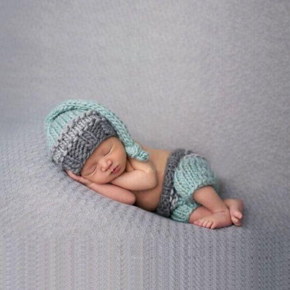 Baby Strickmütze Neugeborenen Fotoshooting Newborn Fotografie Kinderfoto Mütze