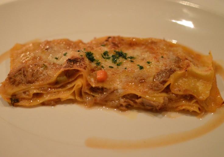 Braised onion & veal shank lasagne w fresh parmesan & a hint of cinnamon