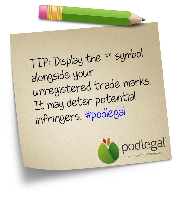 Display the 'TM' symbol  #IP #trademarks #podlegal