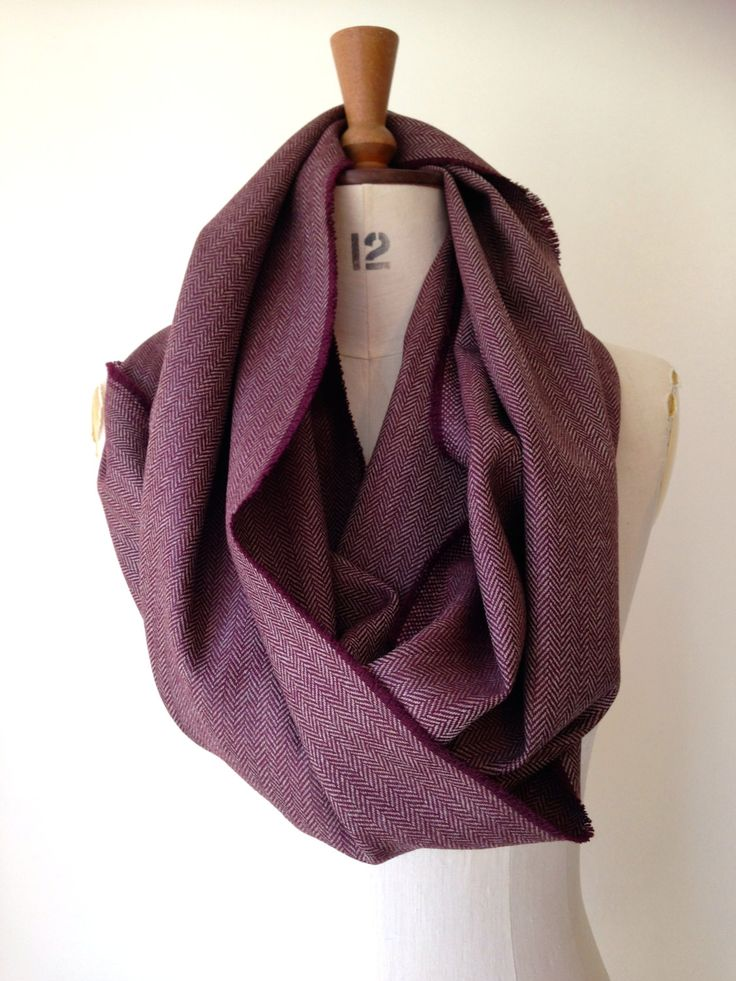 Merino Wool Infinity Scarf - Herringbone Wool Mens Infinity Scarf - Red Wine…