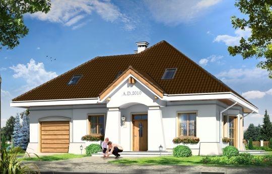 Projekt Figiel 2 jest wersją wariantową domu Figiel. Willę zaprojektowano tym razem z garażem. Dom przeznaczony jest dla cztero-pięcioosobowej rodziny. Projekt Figiel 2, to parterowy dom z poddaszem użytkowym zaprojektowany na planie prostokąta, z dobudowanym garażem. Przekryty został czterospadowym dachem, z dodatkowymi lukarnami i dachem nad garażem. Wygląd zewnętrzny domu kojarzy sie z przedwojenną rezydencją budowaną w miastach-ogrodach lub w podmiejskich letniskach.