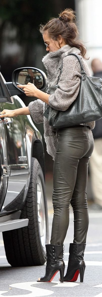 Irina Shayk in Louboutin boots, love the bootie and hairdo