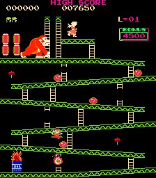 "Like PacMan the next #1 hit game, Donkey Kong also had clones. These usually had completely different colors and sound effects. One was ""Donkey King"" (represented in modern MAME roms by ""Monkey Donkey"" (shown). Another version was called ""Crazy Kong"". They often appeared in machines with cabinet/marquee artwork calling it ""CONGORILLA"". All four levels are present in each round. Since Mario ends up wearing green, why don't we say this is really Luigi's origin?"