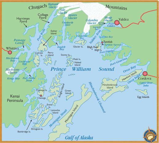Prince William Sound- Gulf of Alaska map | escape/travel ...