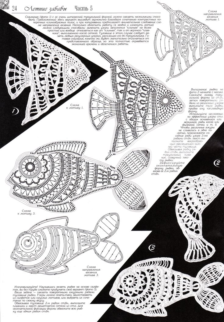 "#Crochet_Tutorial - ""There are so many crocheted fish at this site with diagrams and videos. The charts are much bigger at the site so that you can really see the stitches, too."" A treasure 4U from the #KnittingGuru What will you do with the fish you make???"