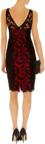 Karen Millen Colourful Lace Dress in Red | Lyst