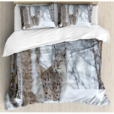 Ambesonne Animal European Lynx Snowy Cold Forest Norway Nordic Country Wildlife Apex Predator Duvet Set Size: