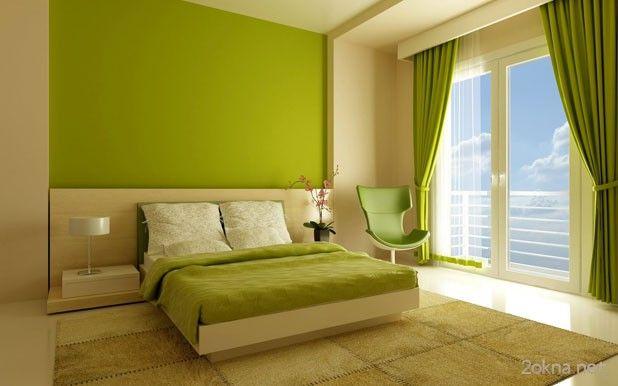 Оформление интерьера спальни шторами