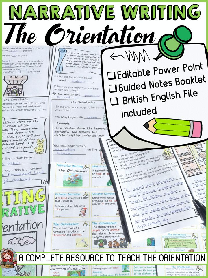 This resource focuses on teaching the orientation in a narrative. Use the 24 presentation slides in conjunction with the student guided notes that is in booklet form. Students record information as you present the presentation on the orientation in narrative writing. https://www.teacherspayteachers.com/Product/NARRATIVE-WRITING-THE-ORIENTATION-3401153