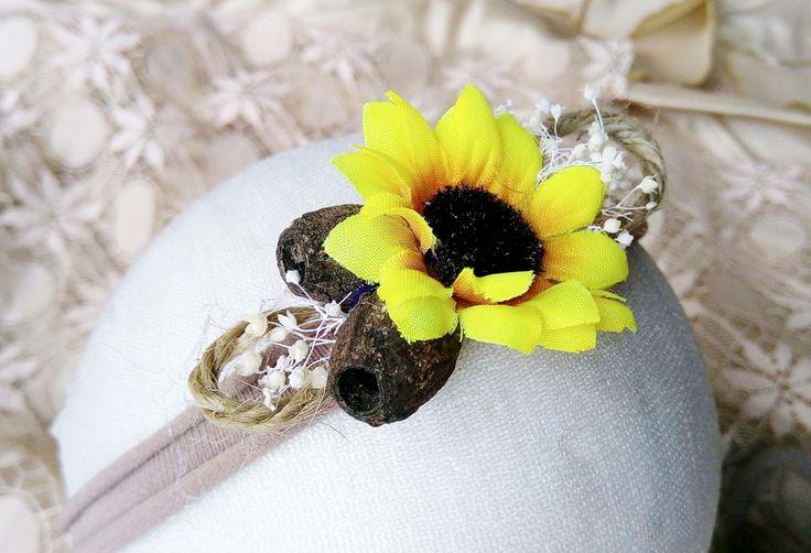 gumnut headband - gumnut tieback - Rustic Sunflower Stretch headband