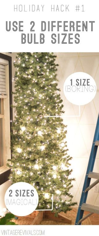 """<p>Instead of buying tons of lights the same size, use two different sizes of bulbs for a cheap and easy way to make your tree look more polished. <i>(Photo: <a href=""""http://www.vintagerevivals.com/2013/12/8-awesome-holiday-hacks.html"""">Vintage Revivals</a>)</i></p>"""