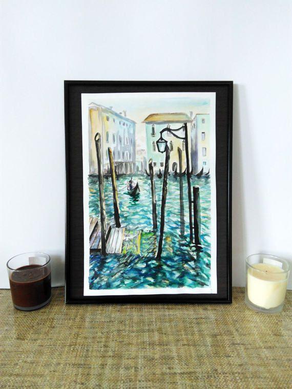 Digital art print Cityscape Venice Watercolour by PaintingByAHeart