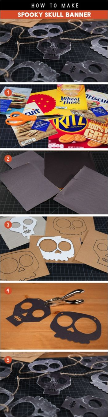 A quick way to add some Halloween fun to any setting using NABISCO box packaging, scissors, craft paper, a hole-puncher, ribbons, our downloadable skull templates and your wickedly wild imagination.