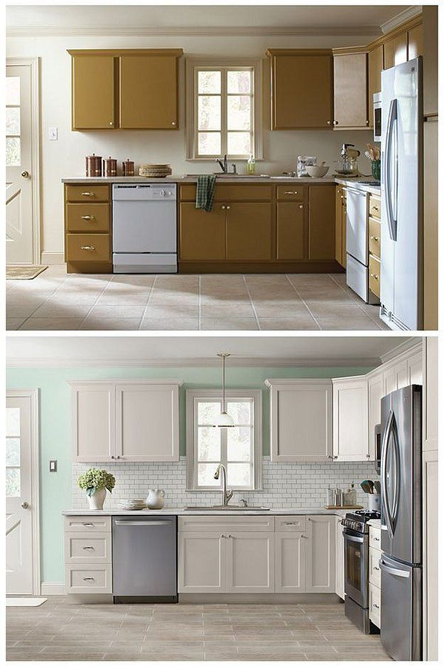 Change the look of your cabinets with these DIY Cabinet Refacing Ideas by DIY Ready at http://diyready.com/10-diy-cabinet-refacing-ideas