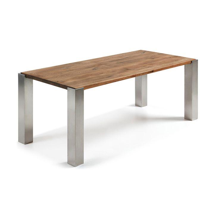 Masa dining din lemn stejar cu picioare inox 220x100 cm Ulric La FOrma
