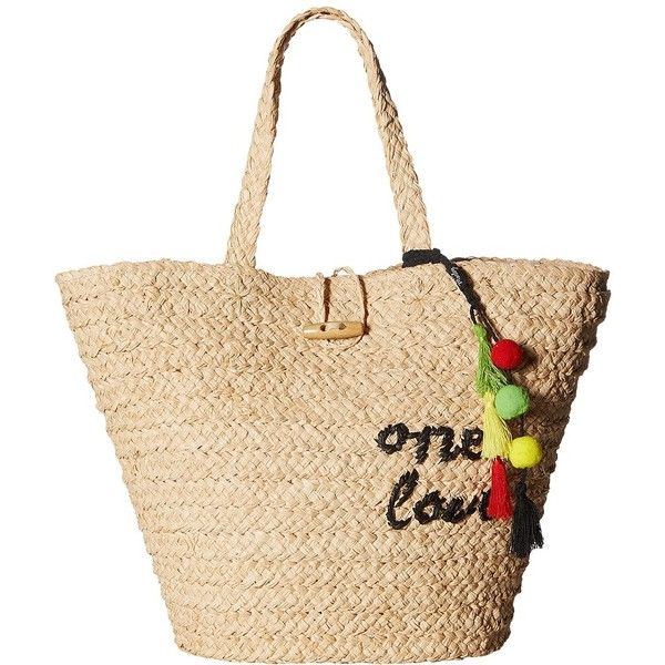 Hat Attack Bob Marley One Love Tote (Natural) Tote Handbags featuring polyvore women's fashion bags handbags tote bags straw tote bags handbag tote beige tote structured handbags beige tote bag
