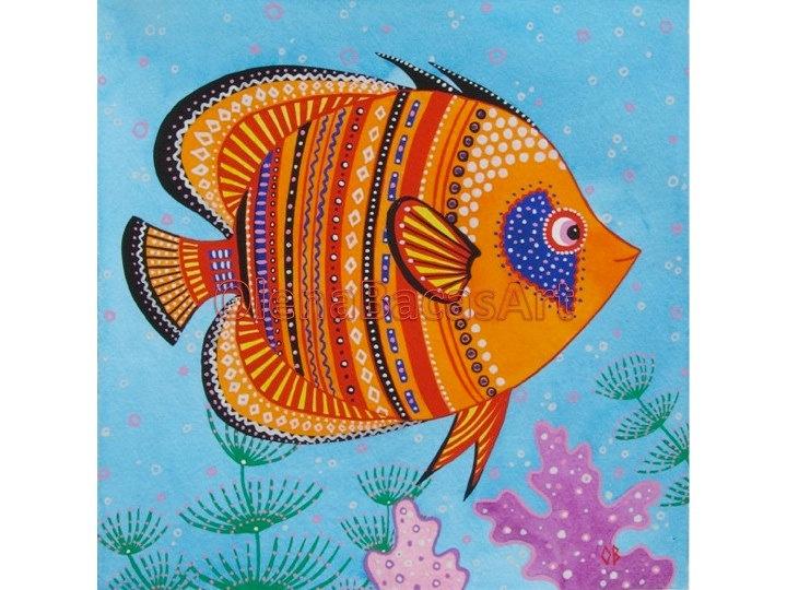 Orange Fish ORIGINAL Watercolor Painting Kids Art Sea Creature Ocean Red Blue Girl Nautical Illustration Nursery Room Decor. $30.00, via Etsy.
