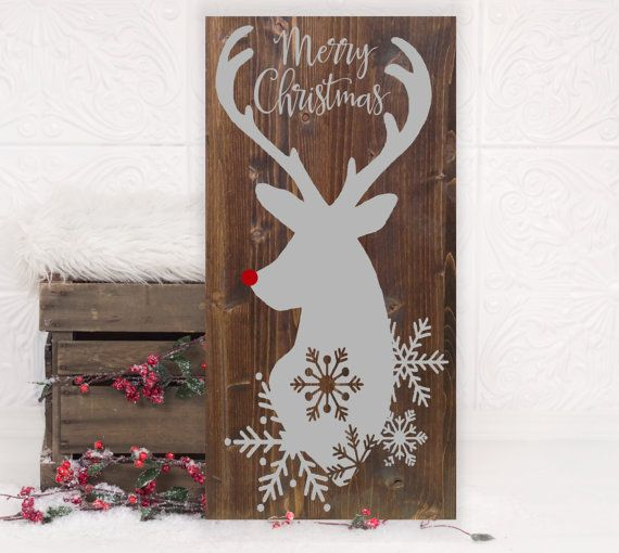 Christmas Reindeer Vinyl Wood Sign 12x24. by HDVinylDesigns