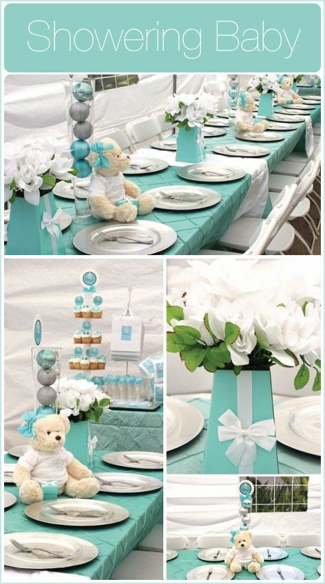 Color co-ordination plus teddy bears and packages  from16 Baby Shower Decoration Ideas