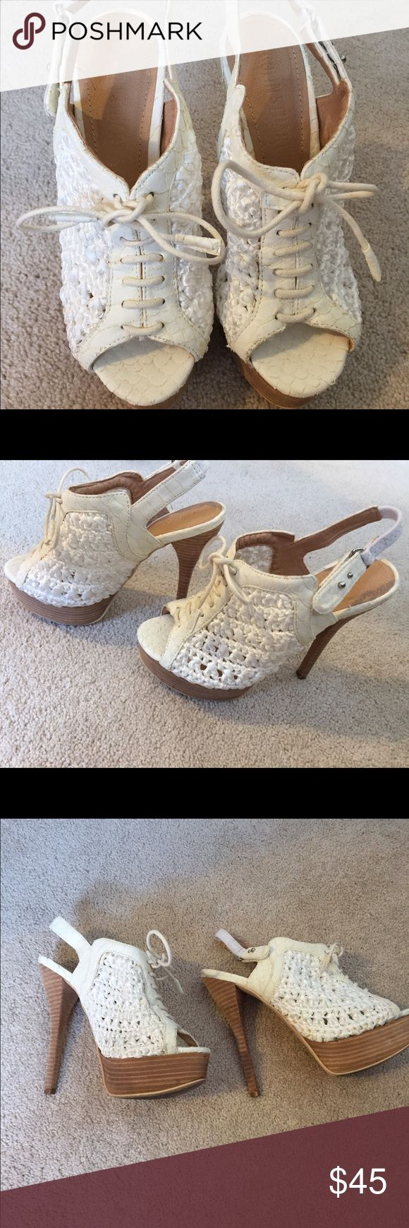 Colin Stuart crochet  heels Colin Stuart Cream crochet heels. Platform    Worn once.  Soooo cute for spring and summer!!!! Colin Stuart Shoes Wedges