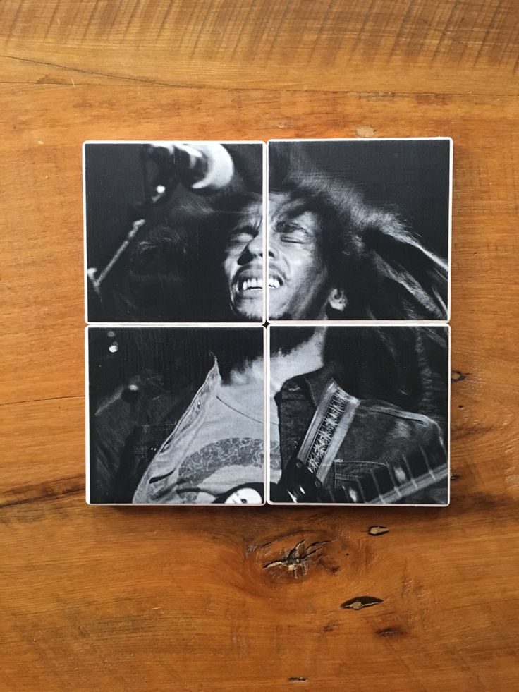 BOB MARLEY and the The Wailers, Redemption Song, Exodus, Reggae Jamaican Musician on Set of 4 Ceramic Heat Resistant Drink Beverage Coasters by UpcyclingIt on Etsy