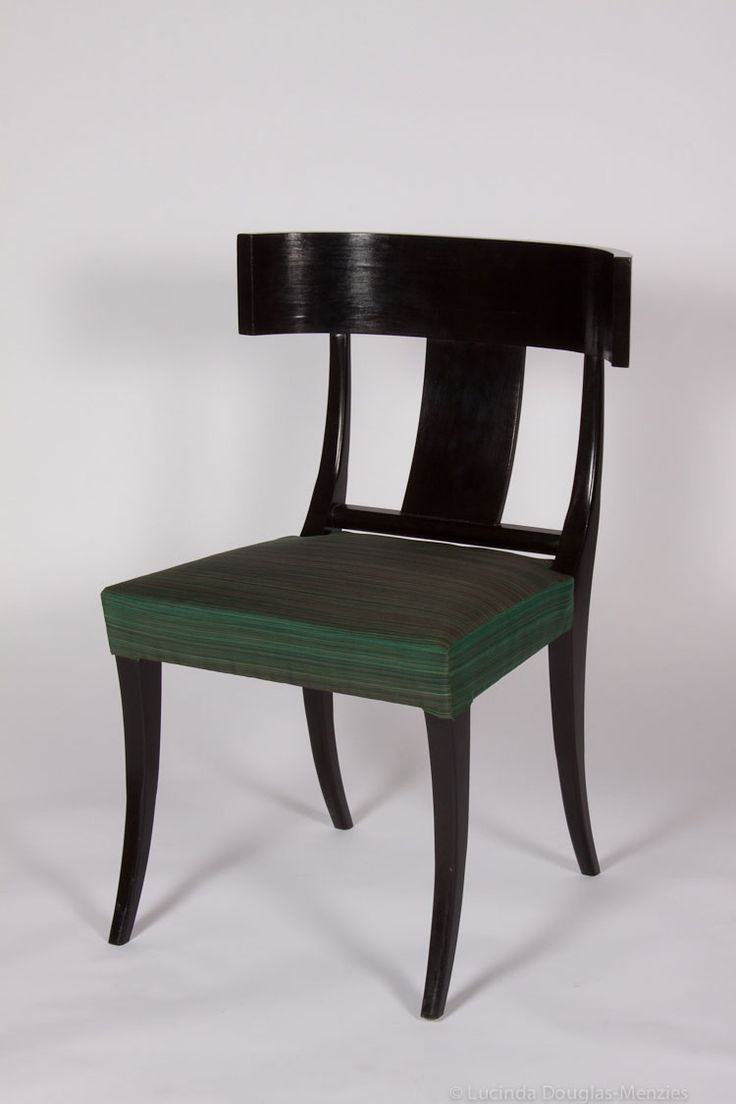 Klismos Chair, Upholstered dining chair, Grade 1 Beechwood frame, Black  stained, Horsehair filled and covered upholstered seat.