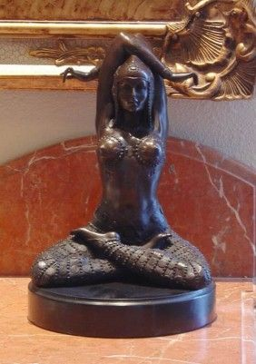 YOGA NUDE BRONZE SCULPTURE - MUSEUM BROWN PATINA - MINT - 12HX8.5WX8D - LOST WAX CAST BRONZE - MOUNTED ON A MARBLE BASE