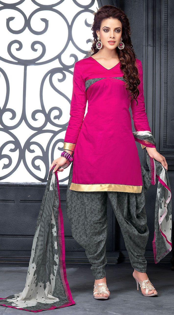 44e2e03b42 Fantastic Pink Cotton Short Kameez With Grey Patiala Salwar | Patiala Suits  | Patiala salwar, Patiala salwar suits, Salwar suits