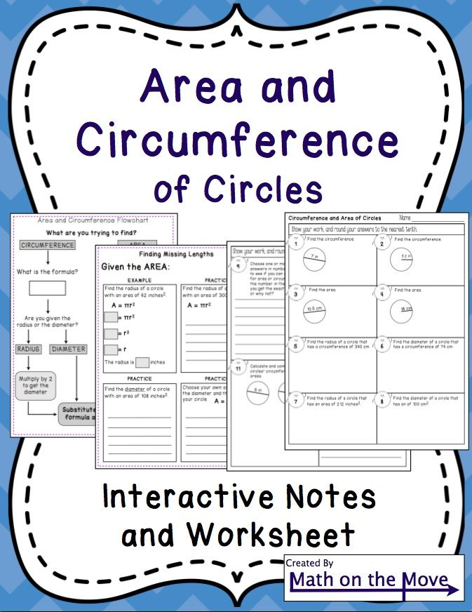 Circumference and Area of Circles - Interactive Notes, Practice and W ...
