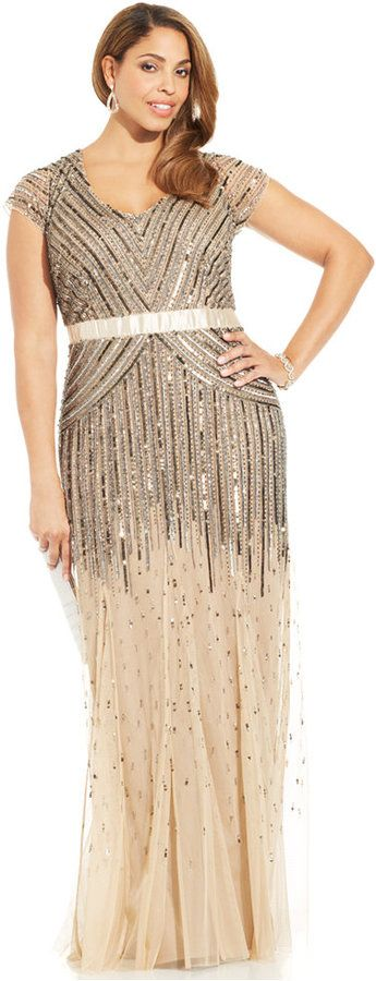Adrianna Papell Plus Size Cap-Sleeve Beaded Sequined Gown #plussize