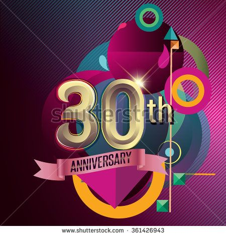 30th Anniversary, Party poster, party invitation - background geometric glowing element. Vector Illustration - stock vector