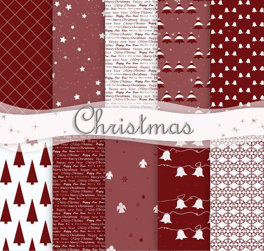 Christmas Digital Paper Set Of 10 RedWhite Christmas