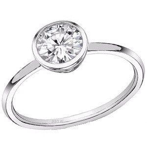 Bezel set diamond engagement ring, platinum