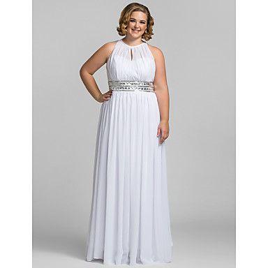 TS Couture Formal Evening / Prom / Military Ball Dress - White Plus Sizes / Petite Sheath/Column High Neck Floor-length Chiffon – USD $ 89.99
