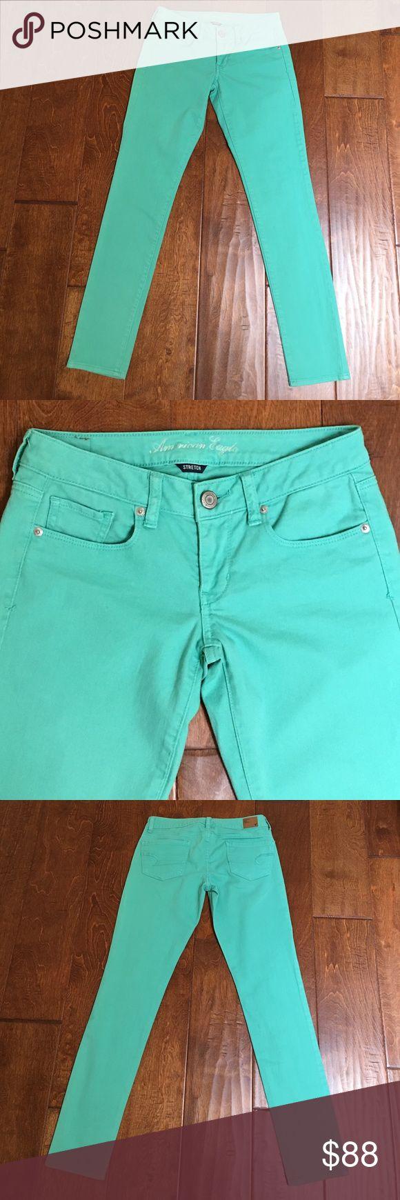 American Eagle, Mint Green Skinny Jeans I'm selling a beautiful pair of American Eagle Mint Green Skinny Jeans, size American Eagle Outfitters Jeans Skinny
