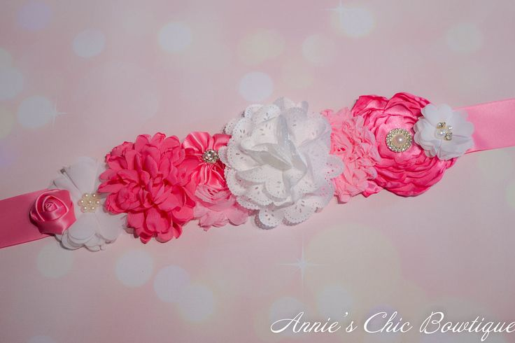 Pink White Maternity Sash, Pregnancy sash belt, baby shower sash, maternity photo prop, its a girl sash, baby bump sash, gender reveal sash by AnniesChicBowtique on Etsy